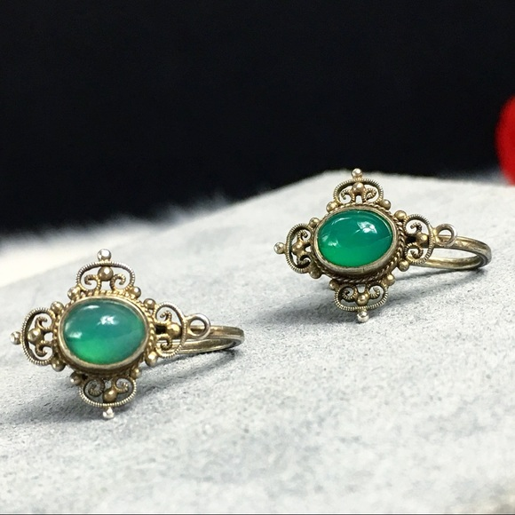 Vintage Jewelry - Vintage Sterling & Chrysoprase Screw Back Earrings